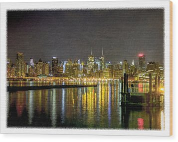 Nyc At Night Faux Oil Wood Print