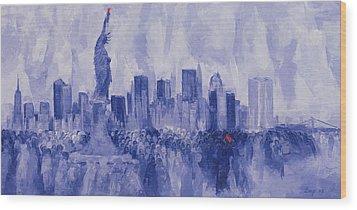 NYC Wood Print by Bayo Iribhogbe