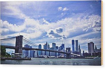 Nyc Brooklyn Bridge City Wood Print by Alex Pochinok
