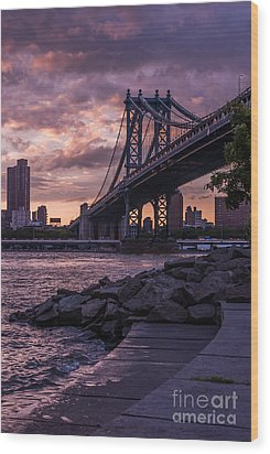 Nyc- Manhatten Bridge At Night Wood Print by Hannes Cmarits