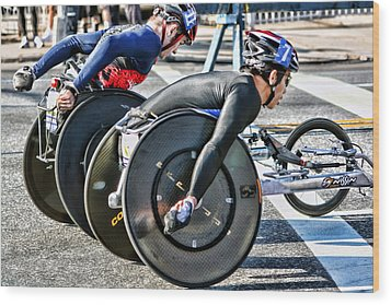 Nyc Marathon Wheelchair Racers Wood Print by Terry Cork