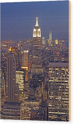 Nyc Midtown And Downtown Wood Print by Juergen Roth