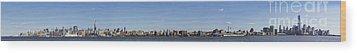 Nyc Panoramic Wood Print by Tony Cordoza