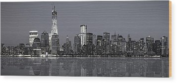 Nyc Skyline Wood Print by Eduard Moldoveanu