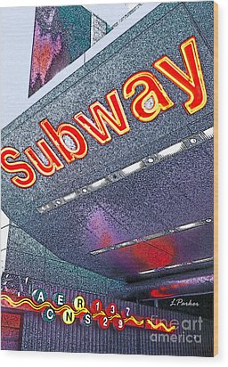 Nyc Subway Wood Print by Linda  Parker