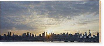 Nyc Sunrise Panorama Wood Print