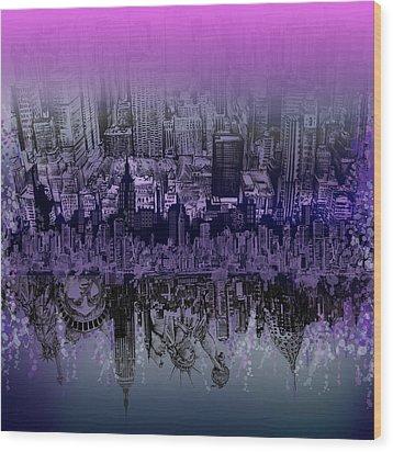 Nyc Tribute Skyline Wood Print by Bekim Art