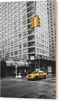 Nyc  Yellow Cab At The Crossroad Wood Print by Hannes Cmarits