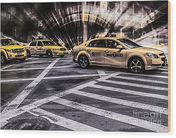 Nyc Yellow Cab On 5th Street - White Wood Print by Hannes Cmarits