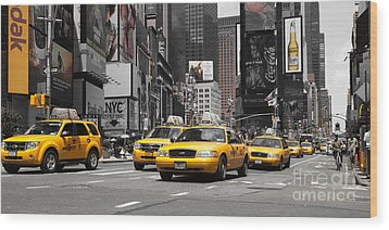 Nyc Yellow Cabs - Ck Wood Print by Hannes Cmarits