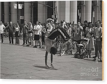 Wood Print featuring the photograph Nycity Street Performer by Angela DeFrias