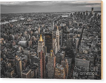 Nycs Golden Tops Wood Print by Hannes Cmarits