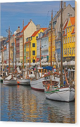 Nyhavn Sailboats Wood Print by Dennis Cox WorldViews