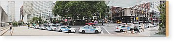 Nypd Cop Cars In Front Of Lincoln Center Wood Print by Nishanth Gopinathan