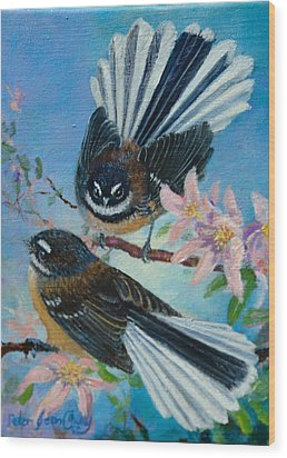Nz Fantails On Clematis Wood Print by Peter Jean Caley