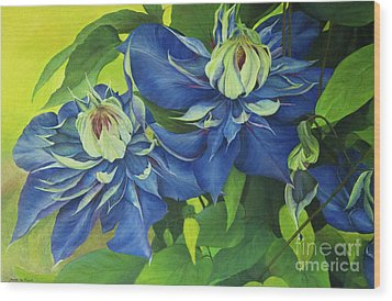 Wood Print featuring the painting O Clematis by Jeanette French