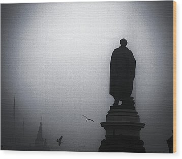 O O'connell Street Under Fog Wood Print by Patrick Horgan