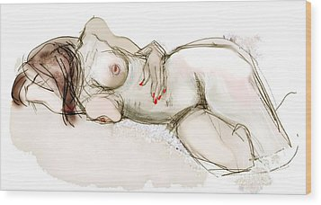 O Sleeping - Female Nude Wood Print by Carolyn Weltman