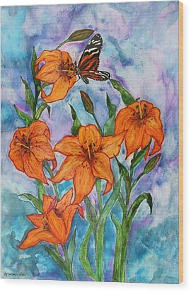 O Tiger Lily Wood Print by Janet Immordino