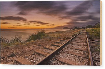 Oahu Rail Road Track Sunset Wood Print