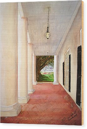Oak Alley - Veranda View Of The Delta Queen Wood Print by June Holwell