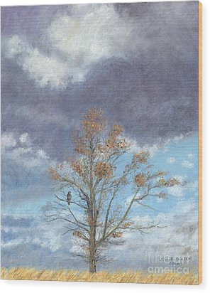 Oak And Clouds Wood Print by Jymme Golden