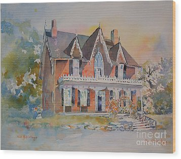 Oak Hill Cottage Wood Print by Mary Haley-Rocks