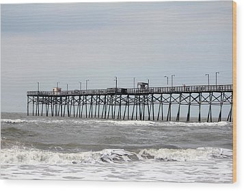 Oak Island Beach Pier Wood Print