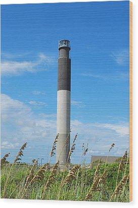Oak Island Lighthouse Wood Print by Bob Sample