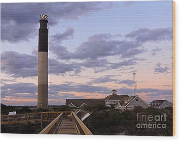 Oak Island Lighthouse From Caswell Wood Print
