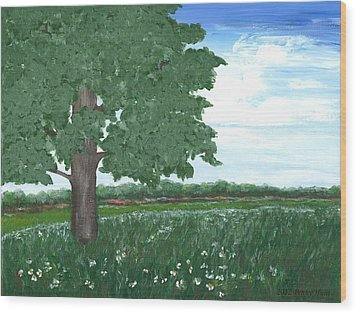Wood Print featuring the painting Oak Tree In Summer Meadow by Penny Hunt