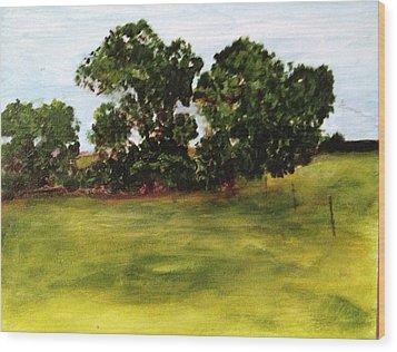 Oak Trees Wood Print by Andrea Friedell