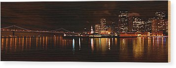 Oakland Bay Bridge At Night Wood Print