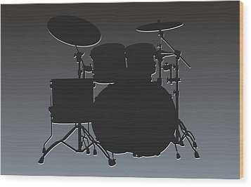 Oakland Raiders Drum Set Wood Print by Joe Hamilton
