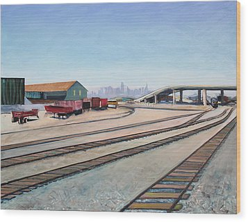 Oakland Train Tracks And San Francisco Skyline Wood Print