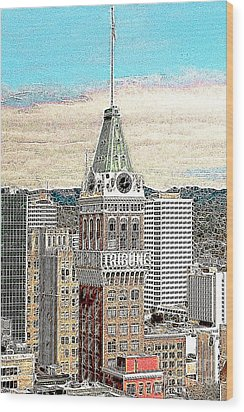 Oakland Tribune Building Oakland California 20130426 Wood Print by Wingsdomain Art and Photography