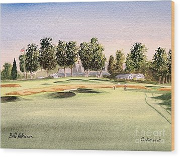 Wood Print featuring the painting Oakmont Golf Course 14th by Bill Holkham