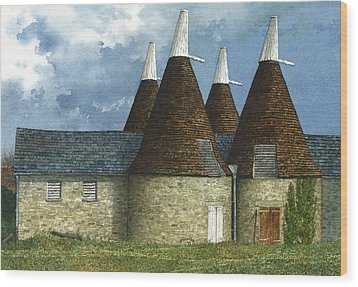 Oast Houses Wood Print