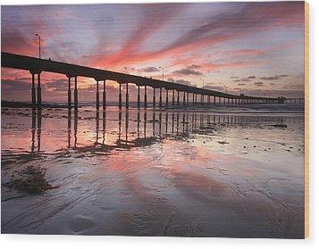 Ob Pier Reflection Sunset Wood Print