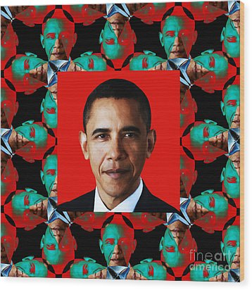 Obama Abstract Window 20130202p0 Wood Print by Wingsdomain Art and Photography