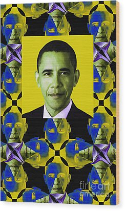 Obama Abstract Window 20130202verticalp55 Wood Print by Wingsdomain Art and Photography