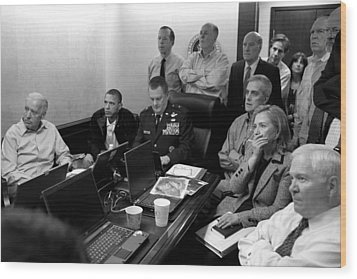 Obama In White House Situation Room Wood Print by War Is Hell Store