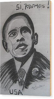 Obama Wood Print by Roger Cummiskey