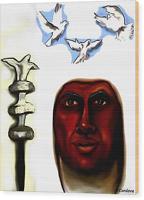 Obatala -king Of White Cloth Wood Print by Carmen Cordova