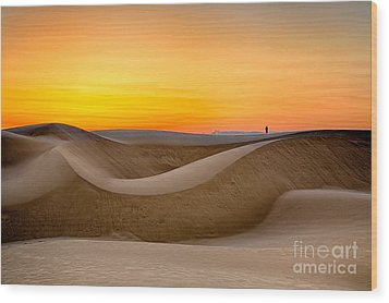 Observing Sunset At The Oceano Dunes Wood Print