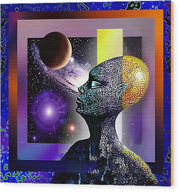 Wood Print featuring the mixed media Observing The Cosmos by Hartmut Jager