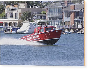 Oc Sheriff Harbor Patrol Fire Fighter Wood Print by Shoal Hollingsworth
