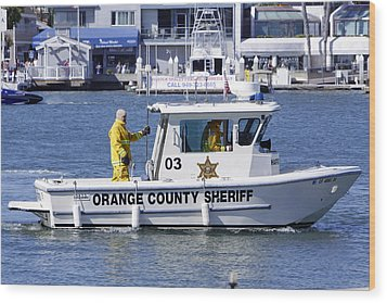 Oc Sheriff Ready For The Fire Wood Print by Shoal Hollingsworth