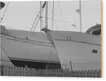 Ocean Adventure Until Then The Two Are In Dry Dock Monochrome  Wood Print by Rosemarie E Seppala
