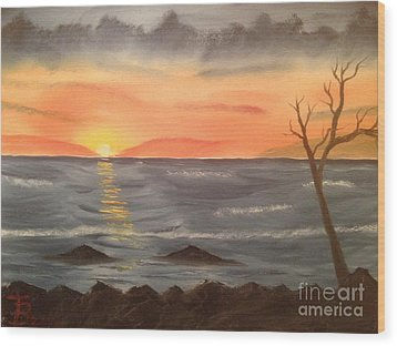 Ocean At Sunset Wood Print by Tim Blankenship